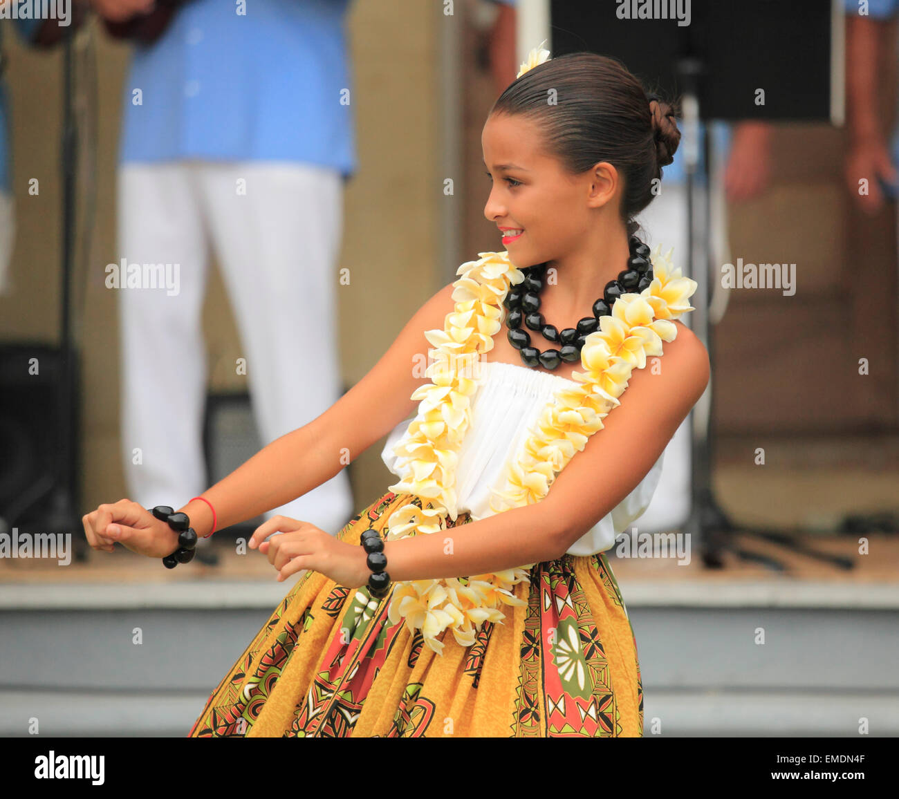Hawaii, Big Island, Kailua-Kona, hula show, dancer, - Stock Image