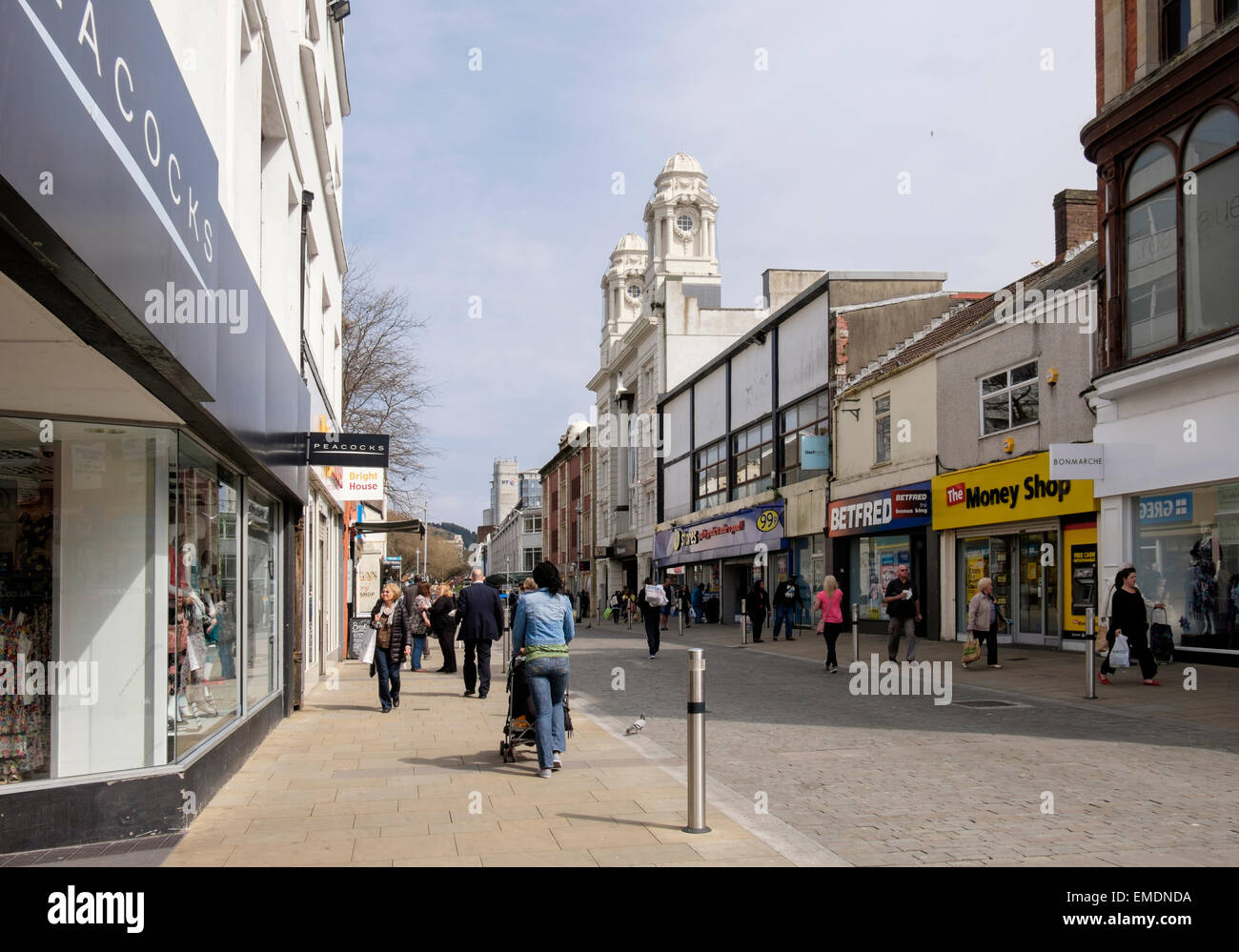 City centre shops and shoppers in pedestrianised Oxford Street, Swansea, West Glamorgan, South Wales, UK, Britain - Stock Image