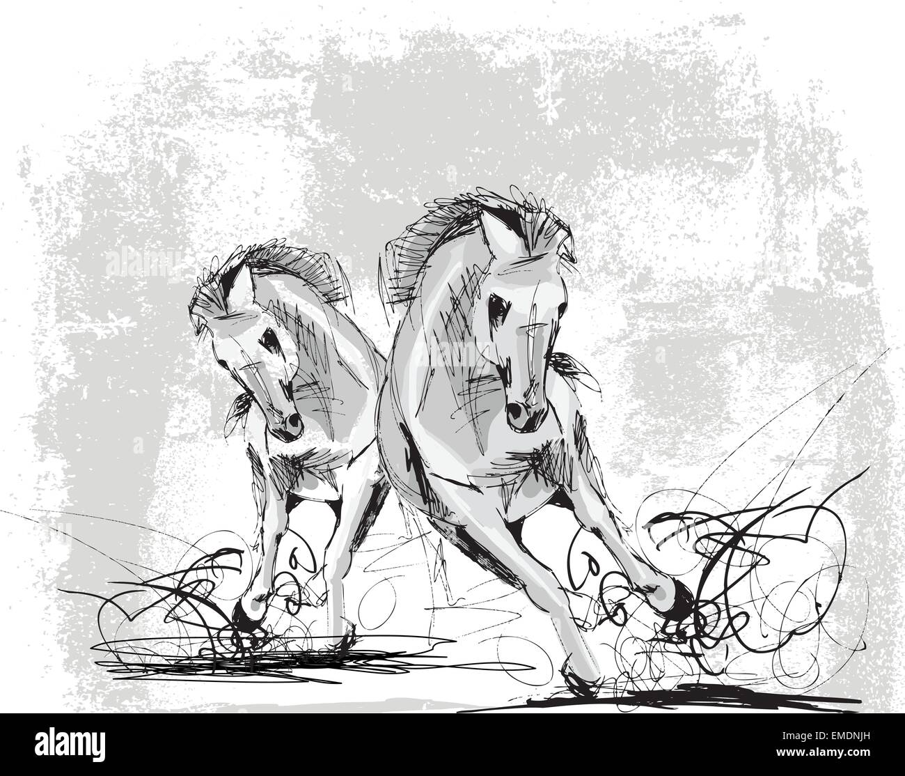 Sketch Of Horses Running Stock Vector Image Art Alamy