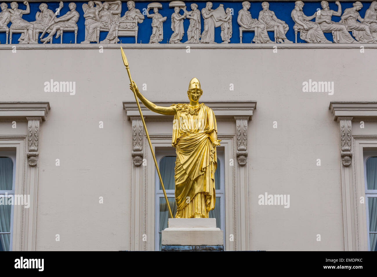 The classical goddess of wisdom Athena and Frieze of the Parthenon adorning the Athenaeum private members club in - Stock Image