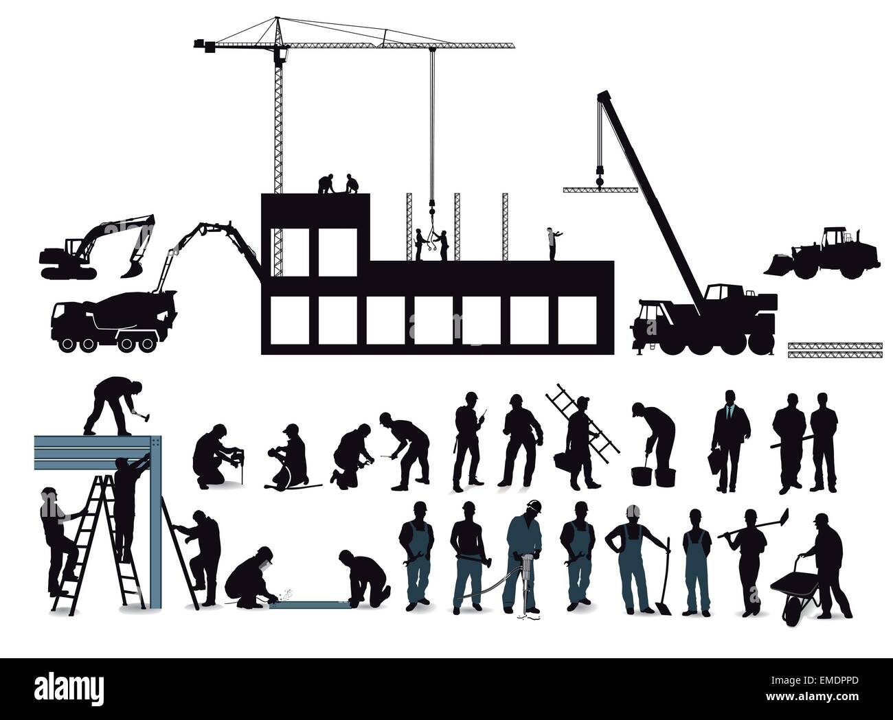 Construction project with construction workers - Stock Vector