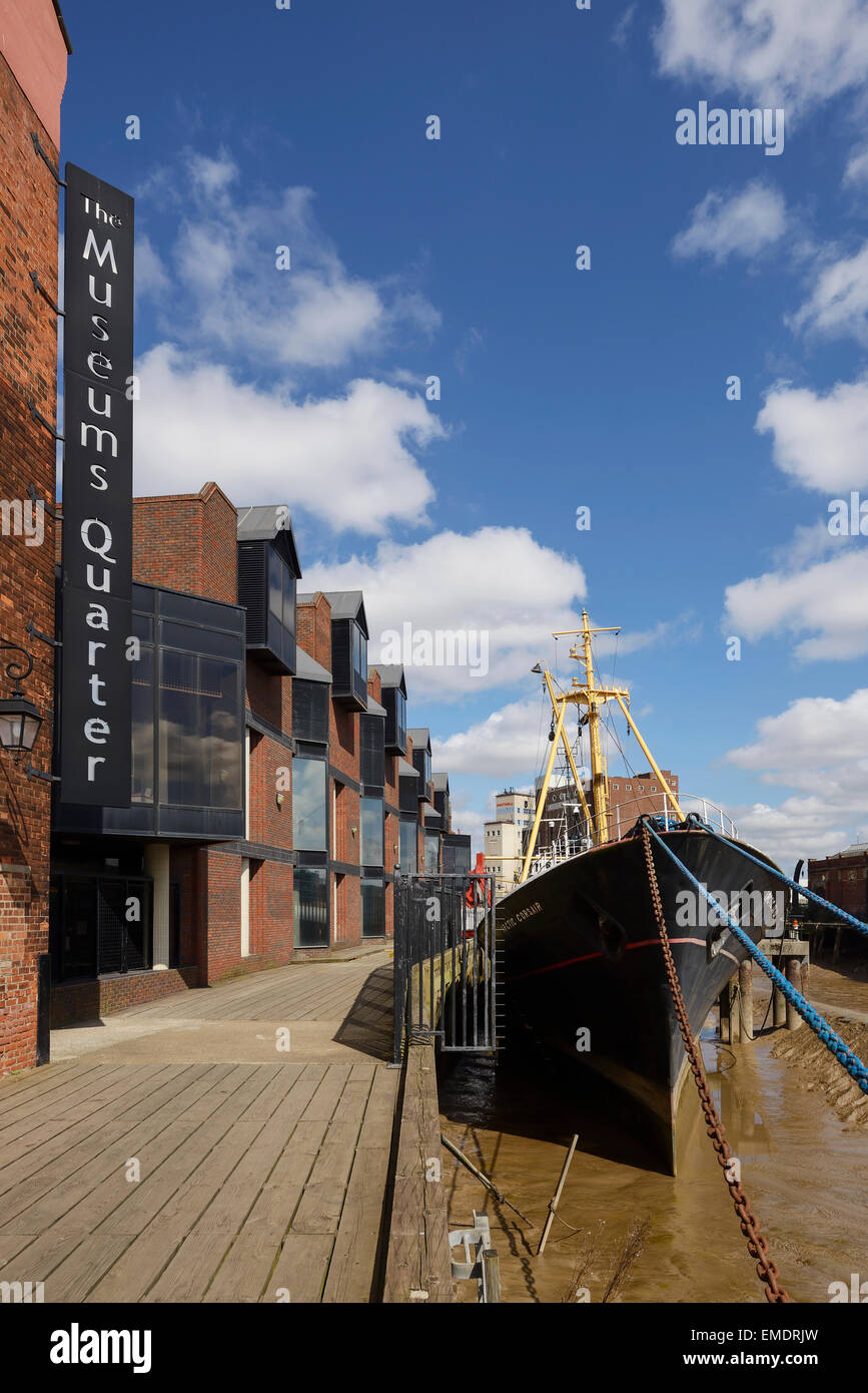 The Arctic Corsair ship on the RIver Hull in the Museum Quarter of Hull city centre UK - Stock Image