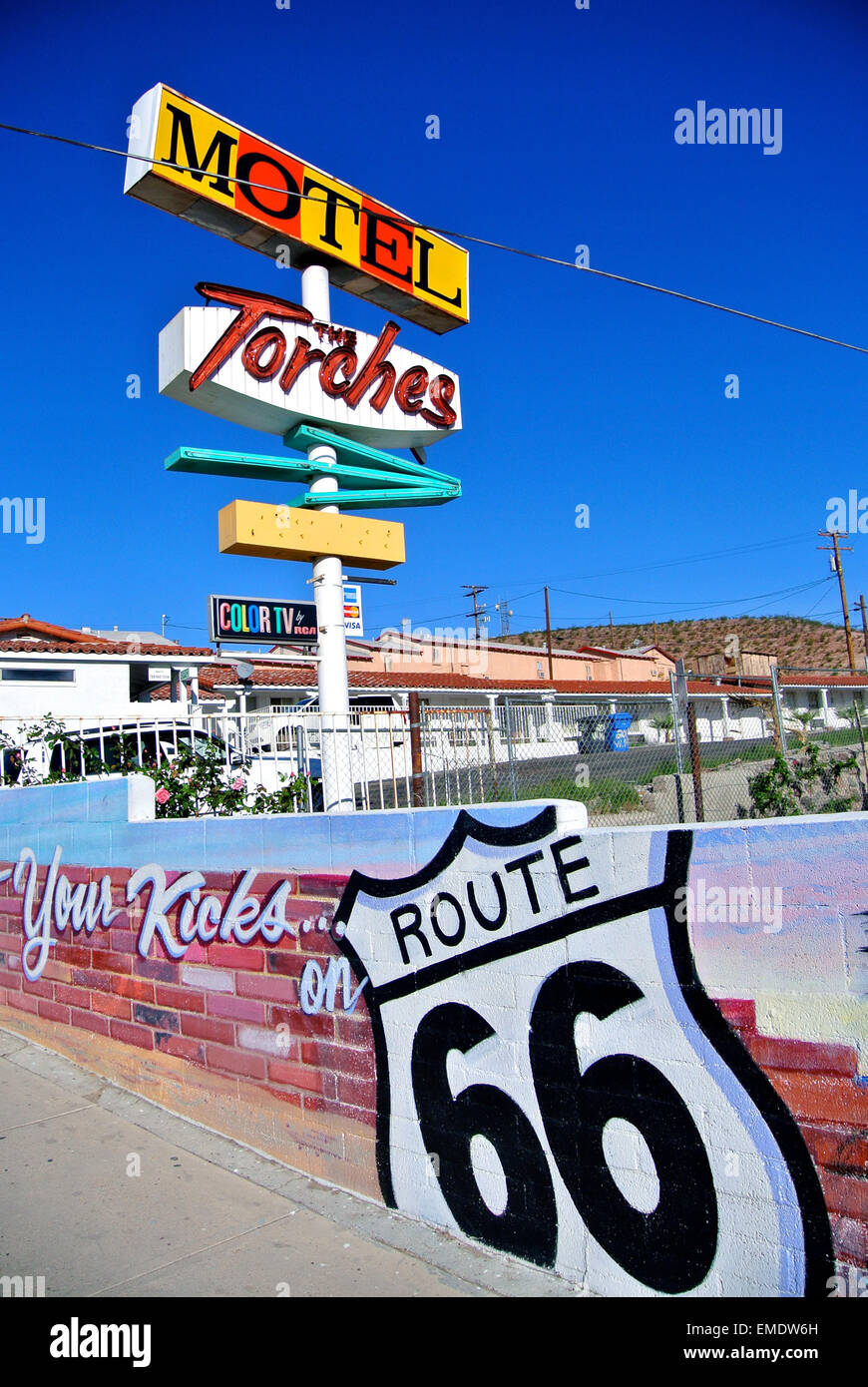 view of historic torches motel and route 66 sign in Barstow California - Stock Image