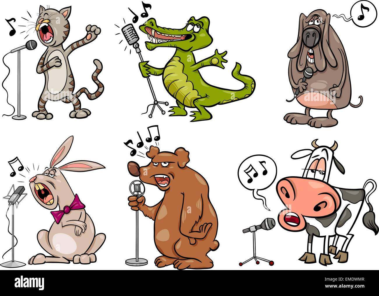 Singing Animals Set Cartoon Illustration Stock Vector Image Art Alamy
