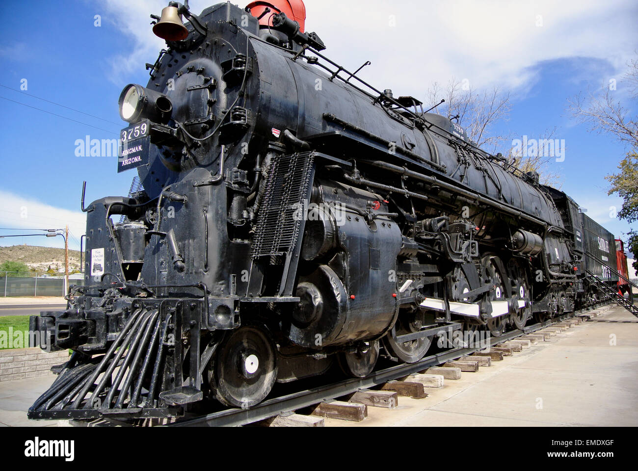 historic engine steam  locomotive of rio grande in Needles California on Route 66 - Stock Image