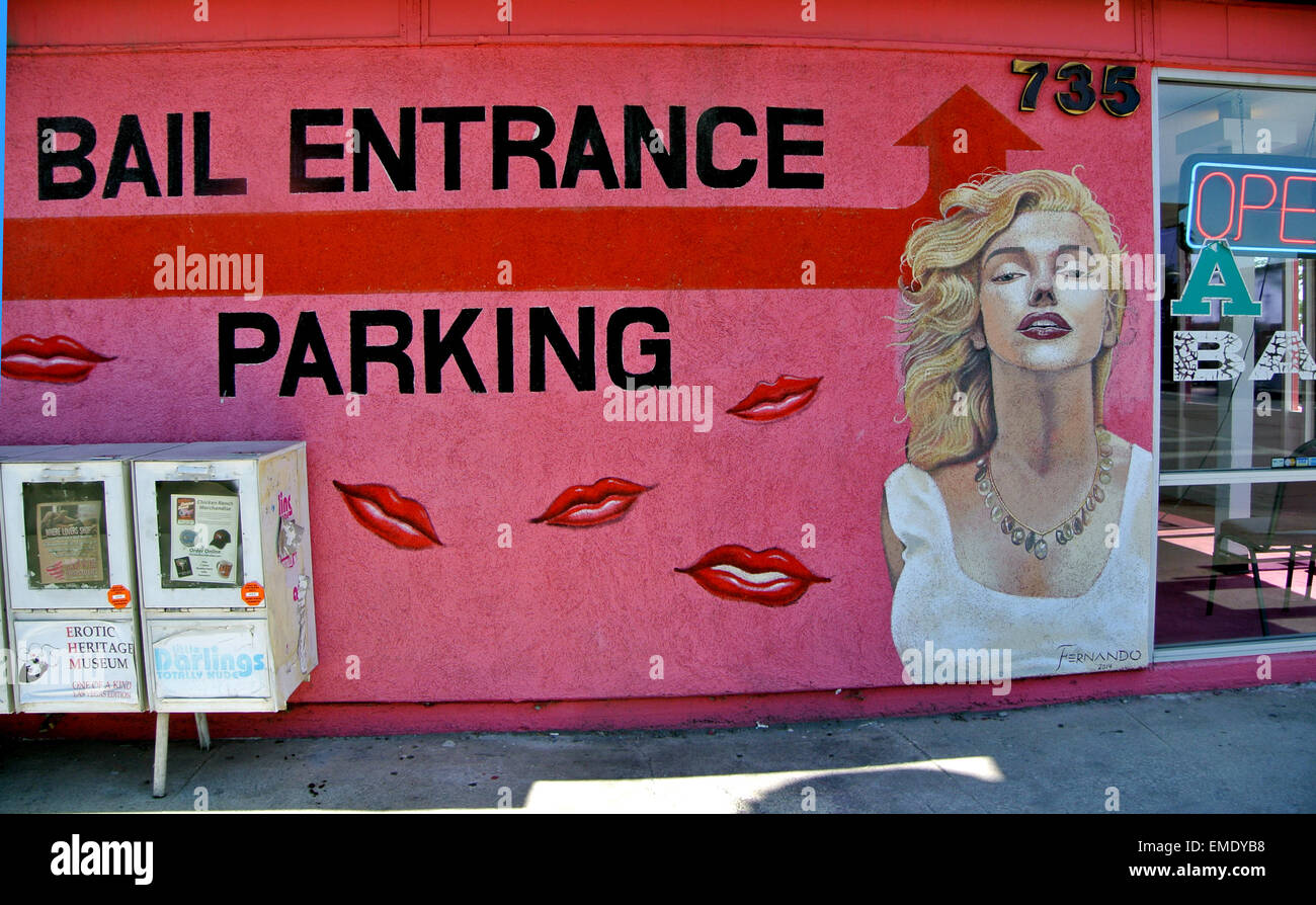 painting of Marilyn Monroe on bail bond shop on Route 66 in Los Vegas Nevada - Stock Image