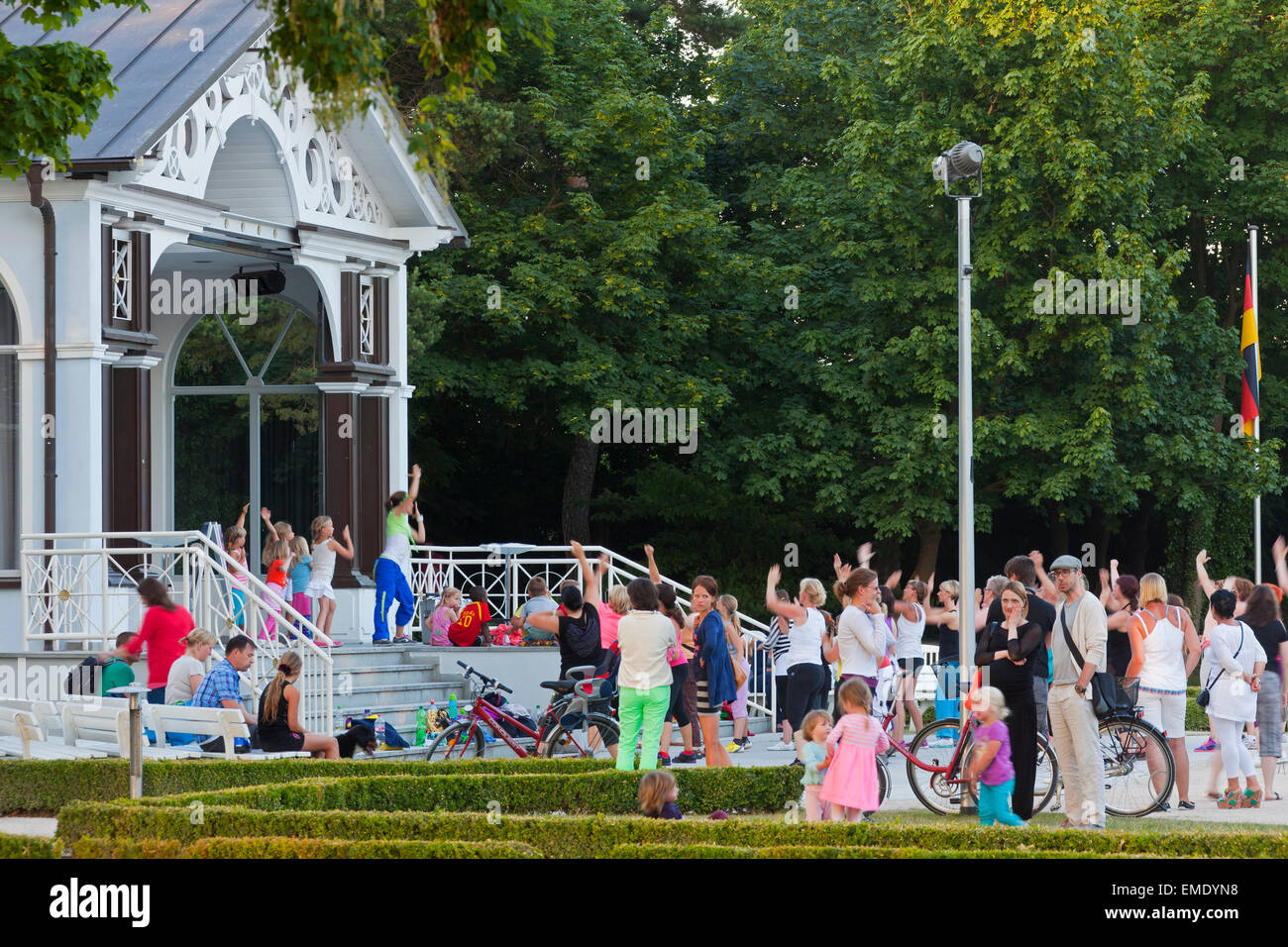 Health spa park / kurgarten / kurpark at seaside resort Boltenhagen, Mecklenburg-Vorpommern, Germany - Stock Image