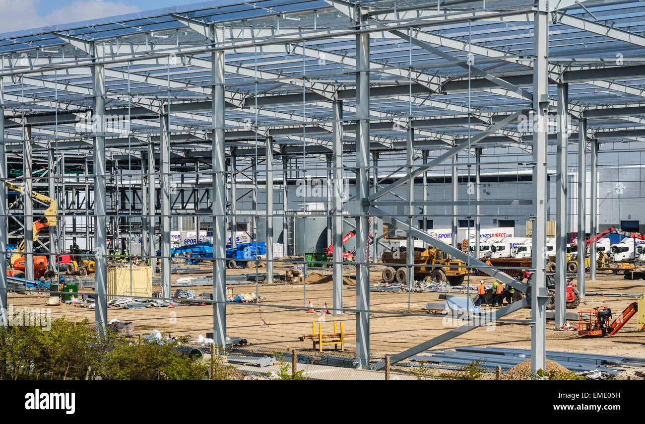 Construction site on Sports Direct property. Metal girder framework being constructed. In Shirebrook, Nottinghamshire, Stock Photo