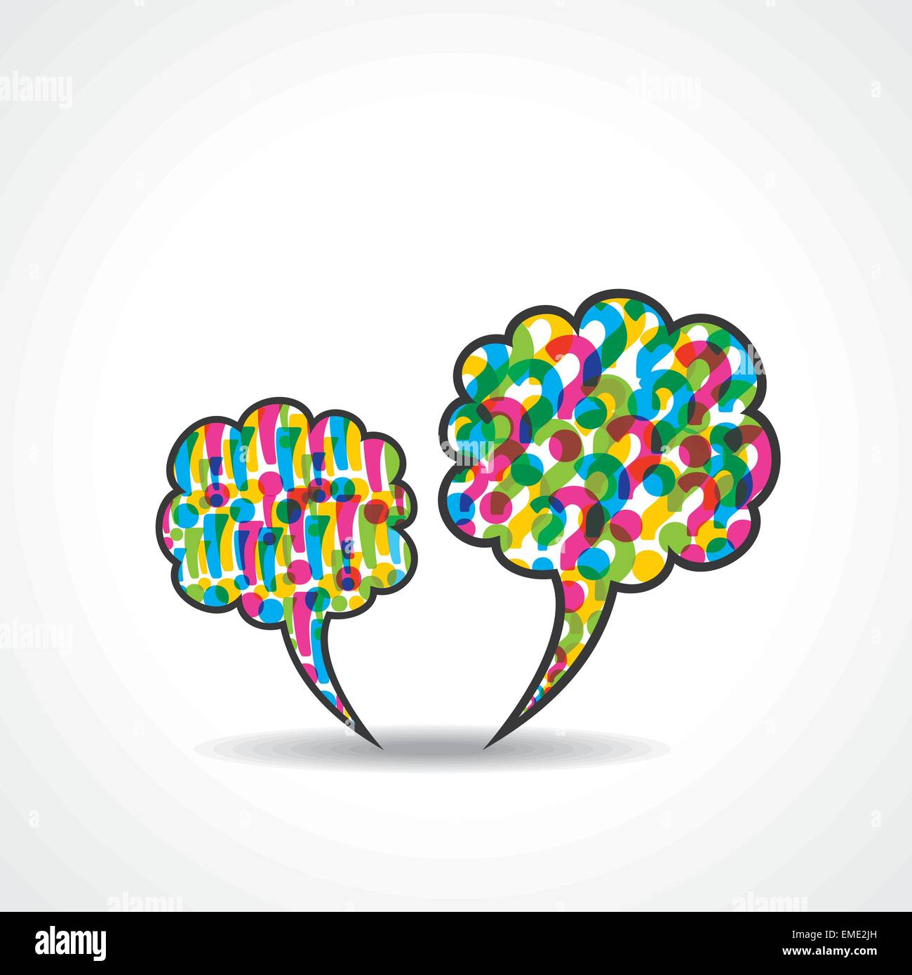 message bubble with question and  exclamatory mark stock vector - Stock Vector