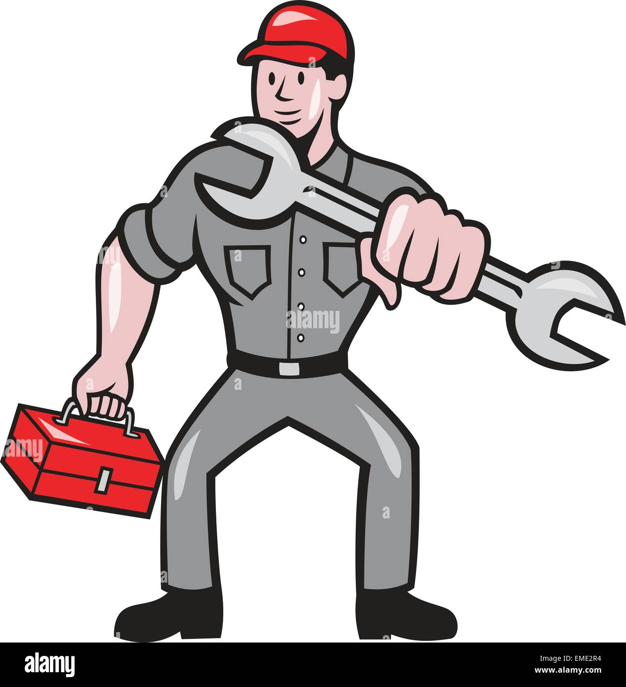 Mechanic Punching With Spanner Cartoon - Stock Vector