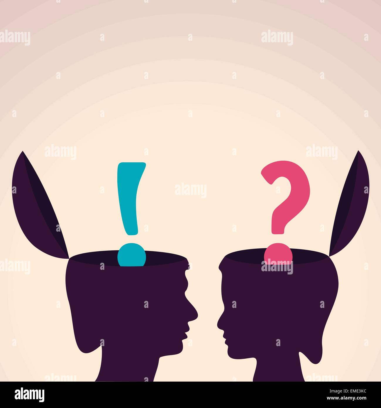 Illustration of thinking concept-Human head with question and exclamatory mark - Stock Vector
