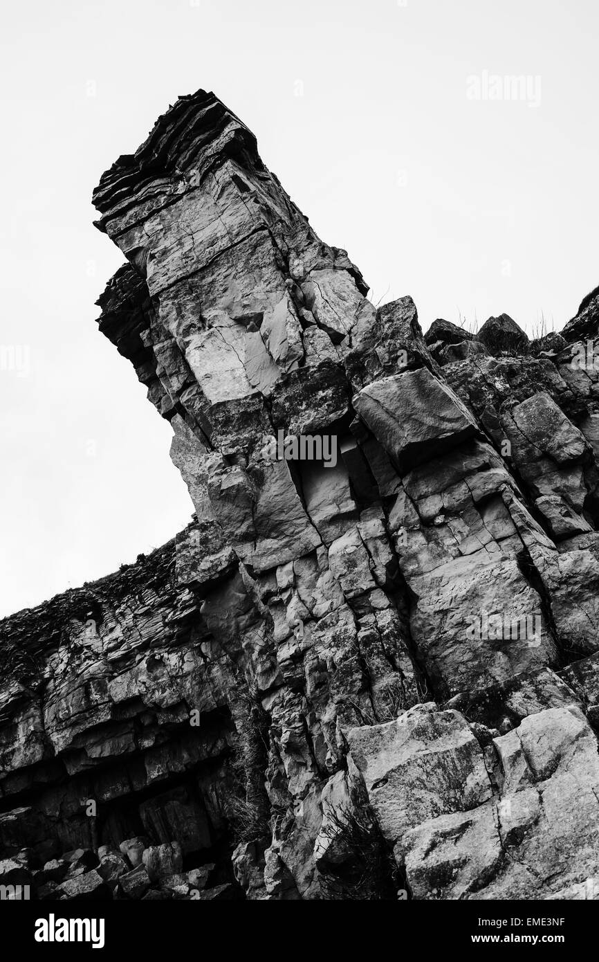 A stone tower in a small quarry in Dorset, by the sea, taken March 2015. - Stock Image