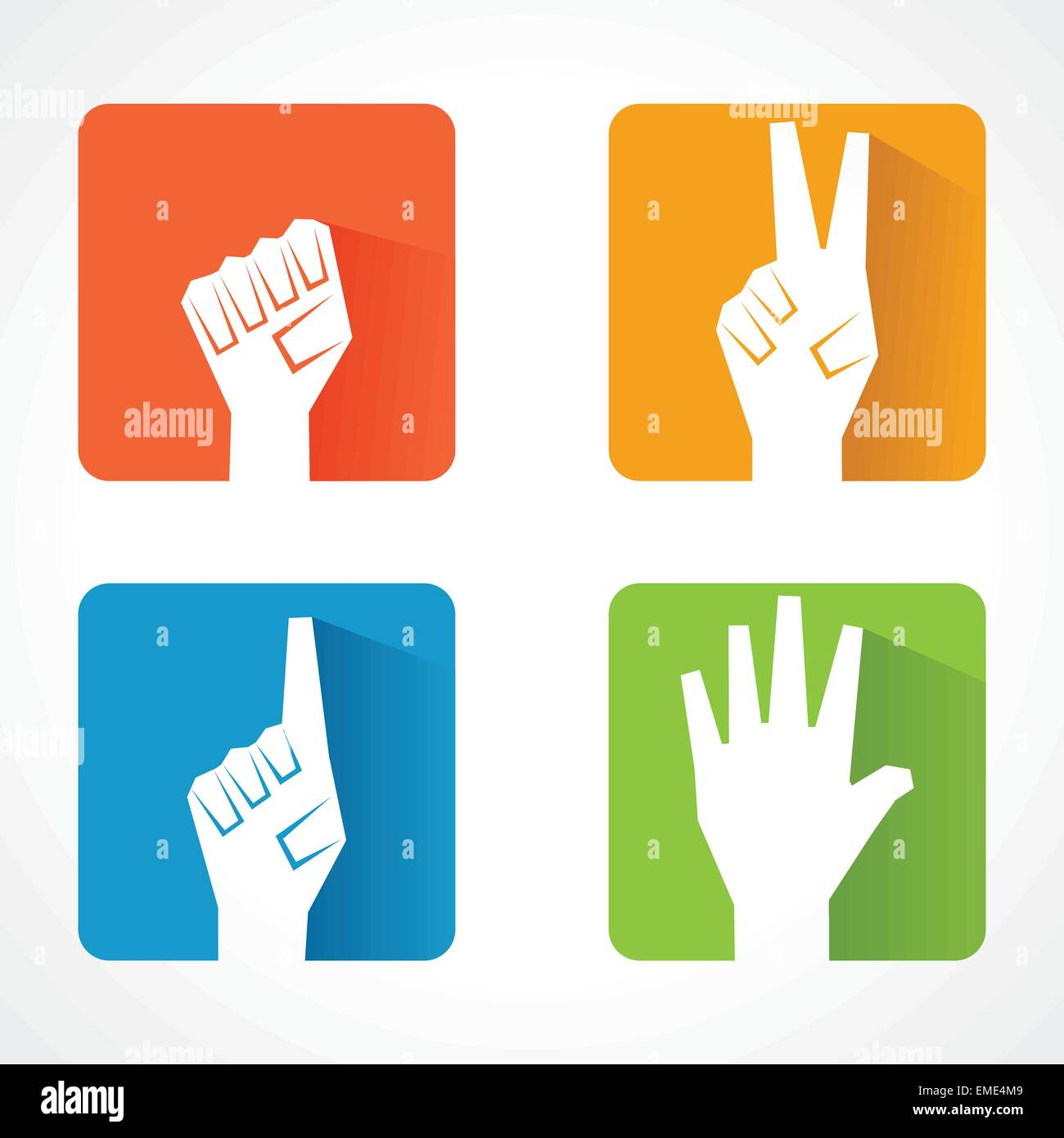 Different shape of hand stock vetor - Stock Image