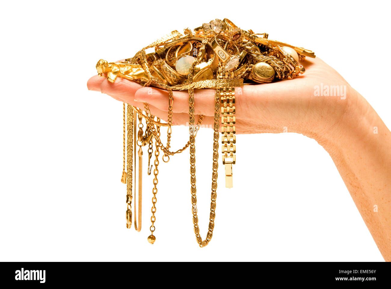Hand Holding Expensive Gold Jewelry - Stock Image