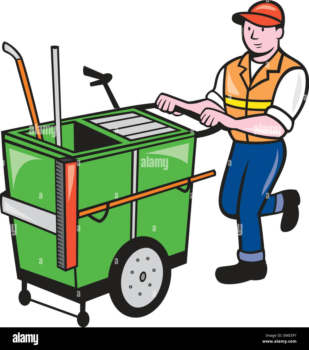 Streeet Cleaner Pushing Trolley Cartoon Isolated Stock Vector