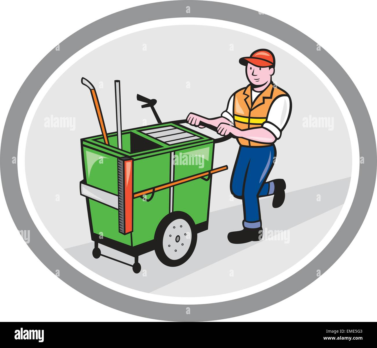 Street Cleaner Pushing Trolley Oval Cartoon Stock Vector