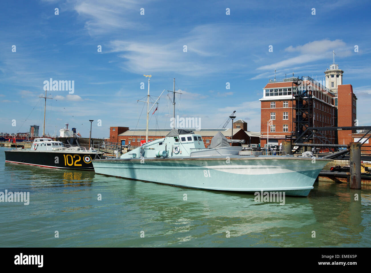 A high speed launch and motor torpedo boat moored in Portsmouth ...