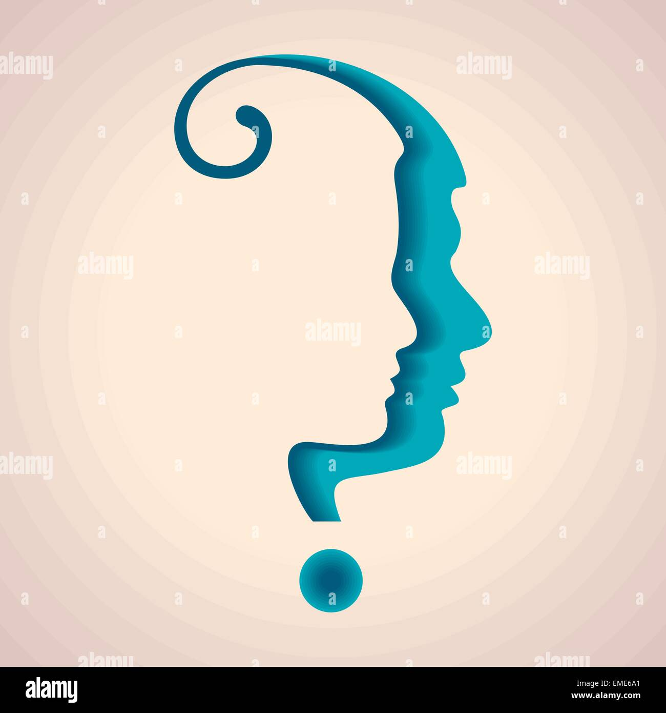 silhouette of a question mark with male and female face - Stock Image