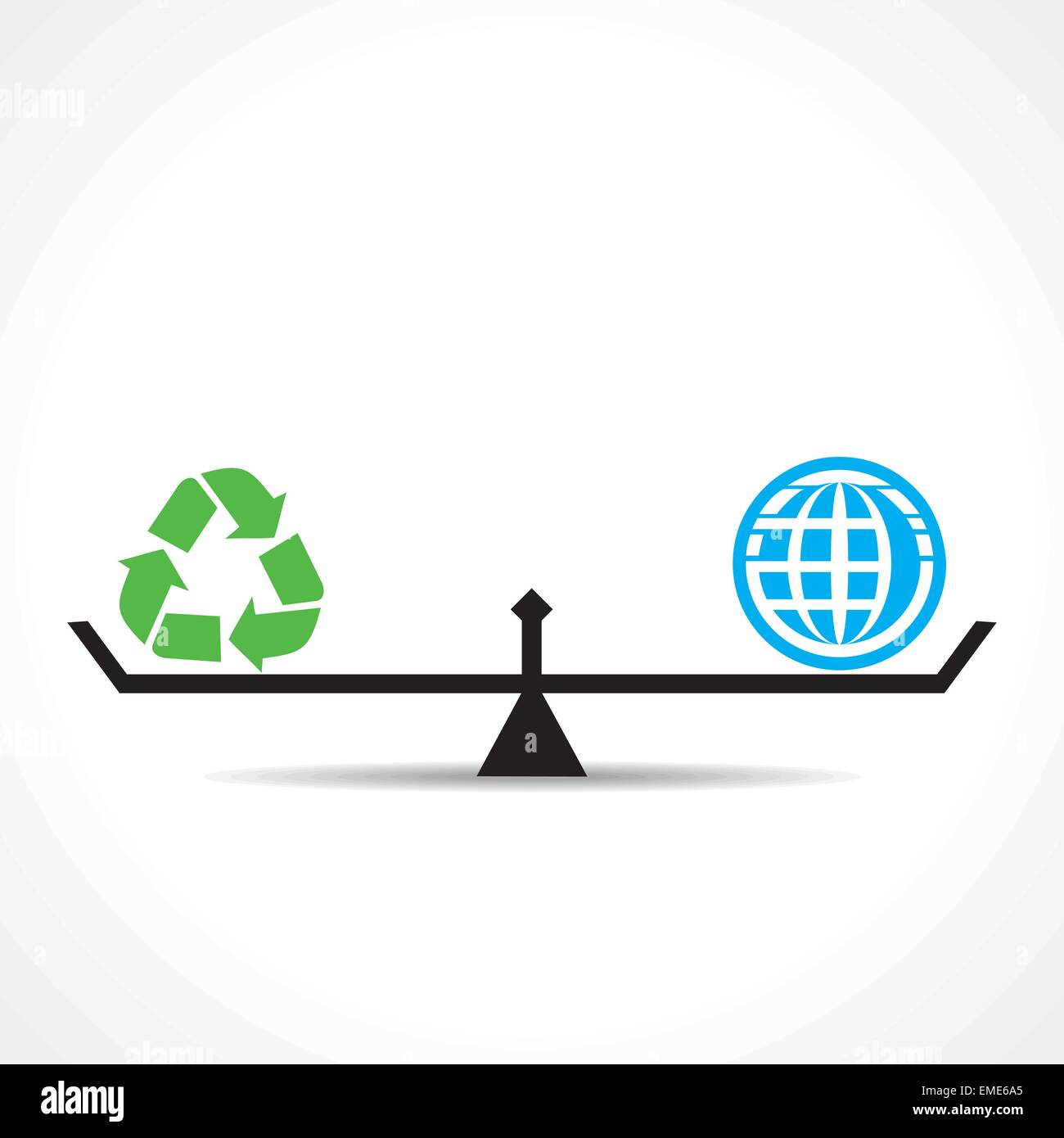 recycle symbol and global both are equal , go green and save earth concept vector Stock Vector