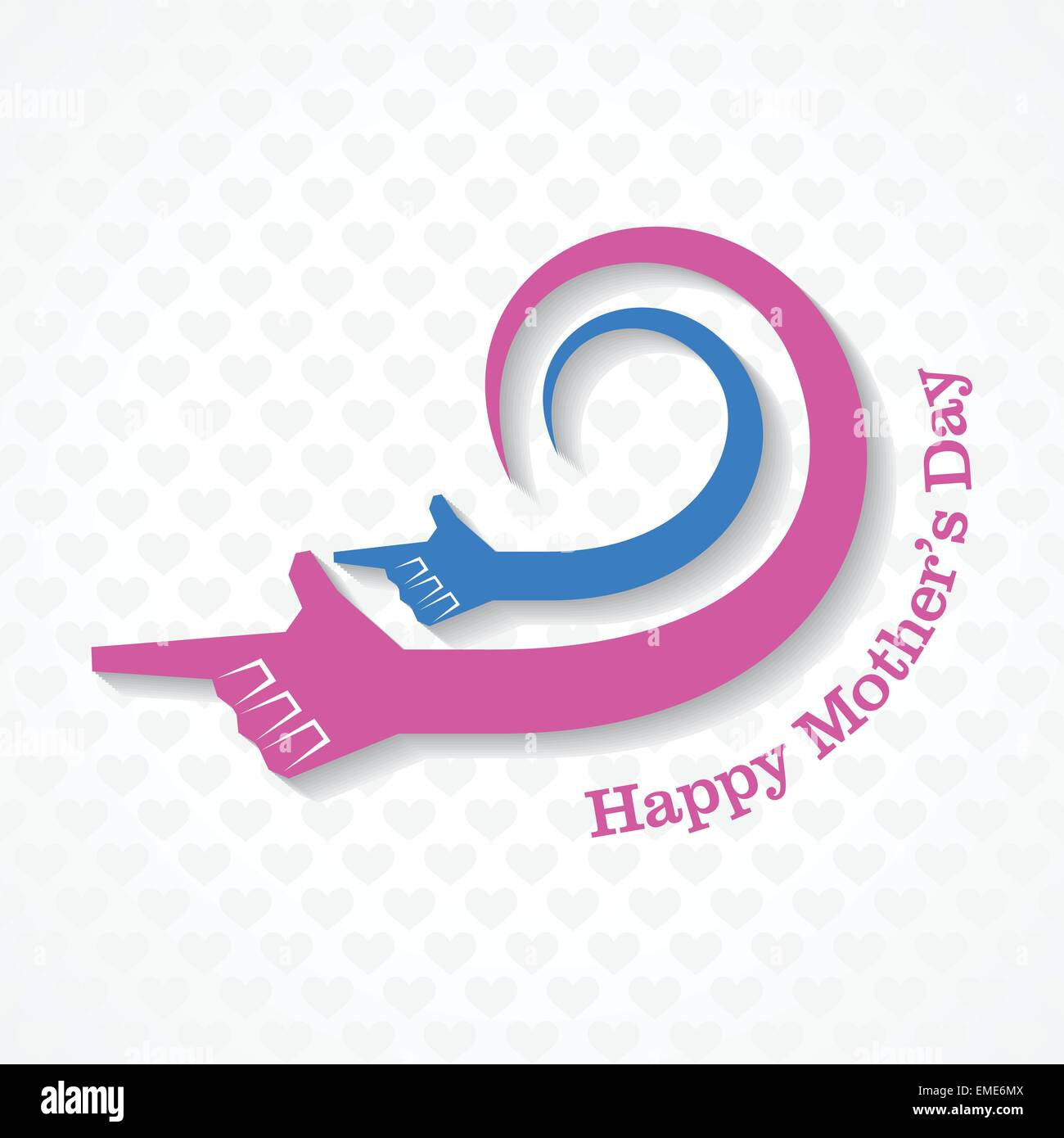 Mothers day greeting with mother and child hand stock vector - Stock Vector