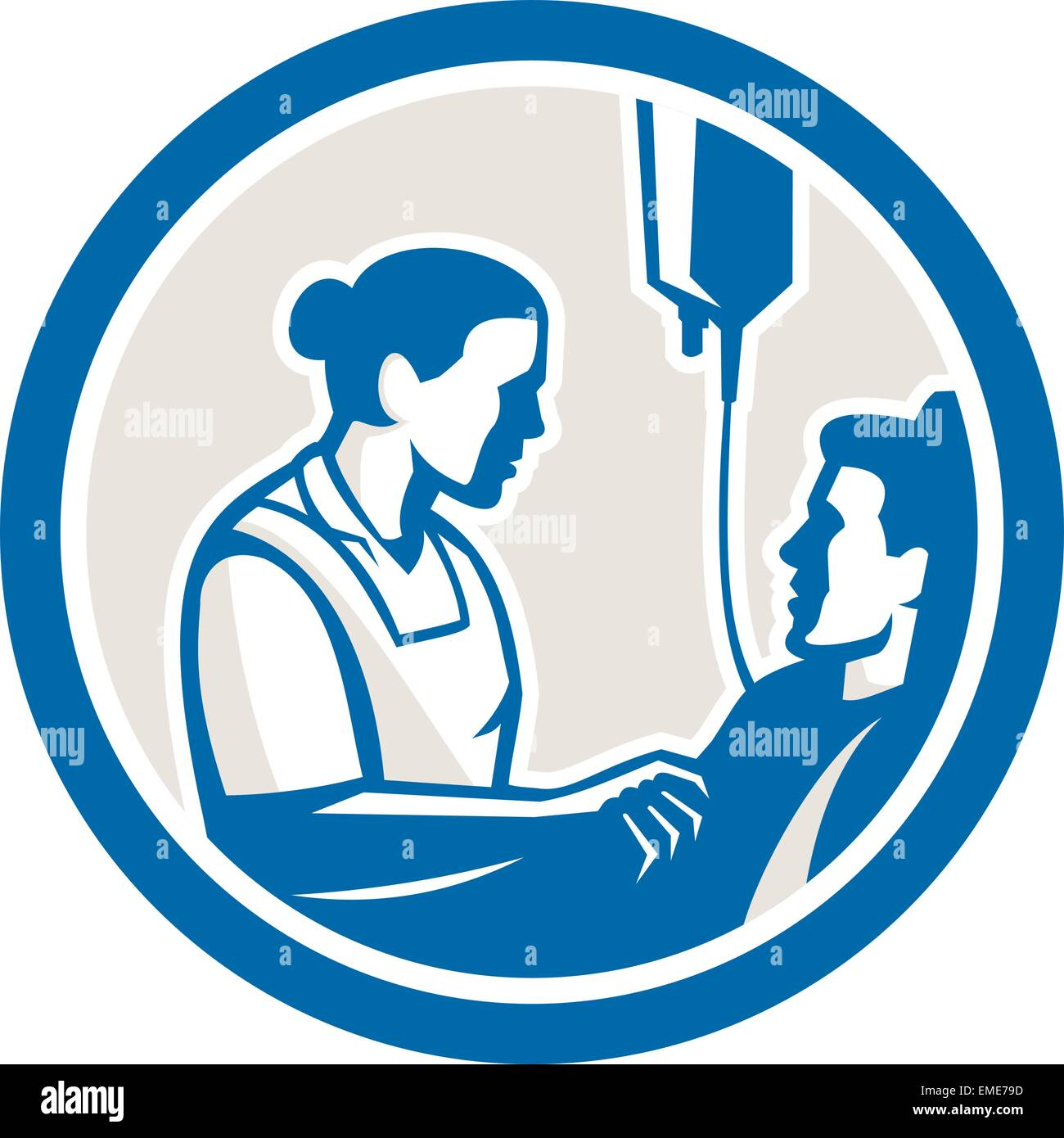 Nurse Tending Sick Patient Circle Retro - Stock Vector