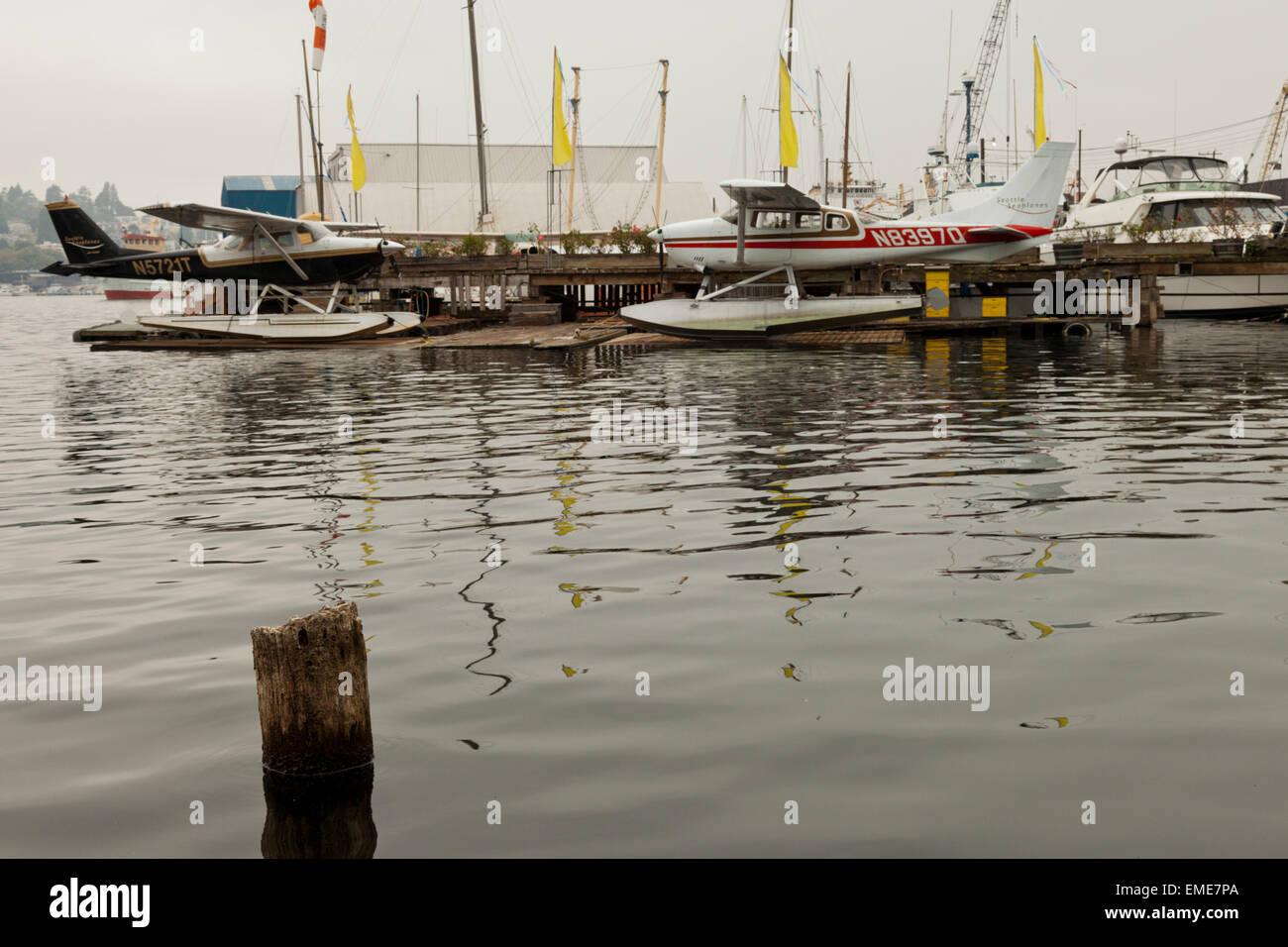 Seaplanes on Lake Union Seattle Washington USA - Stock Image