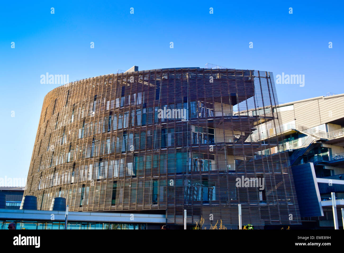 Biomedical Research Park building by Manel Brullet and Albert Pineda. Vila Olímpica, Barcelona, Catalonia, - Stock Image