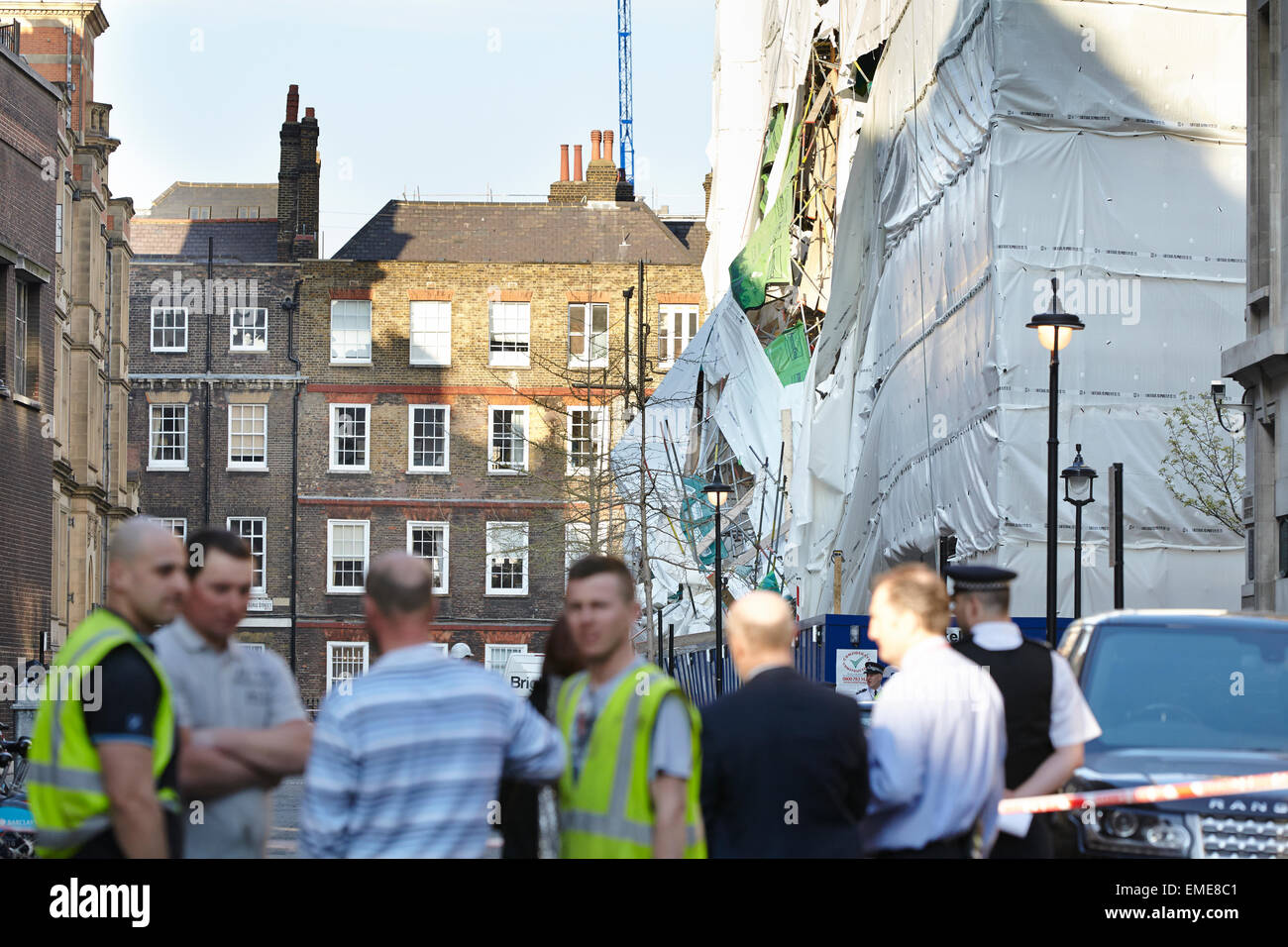 London, UK. 20th Apr, 2015. A building within the LSE complex partially collapsed today (Monday 20th April)  Debris Stock Photo