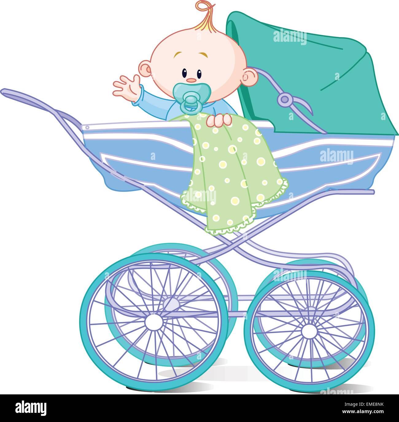 Baby boy sitting in carriage - Stock Vector
