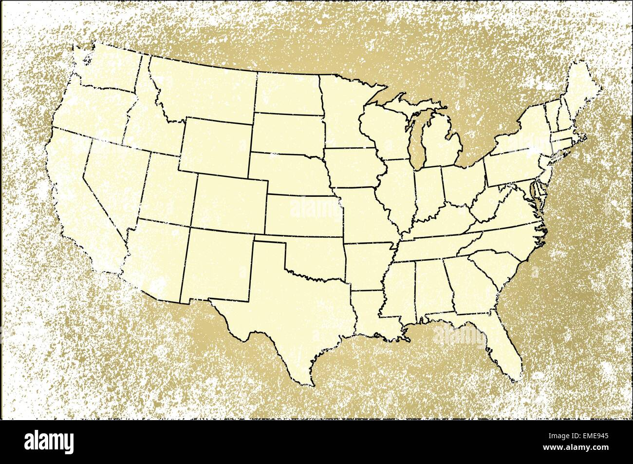 United States of America States Map Stock Vector