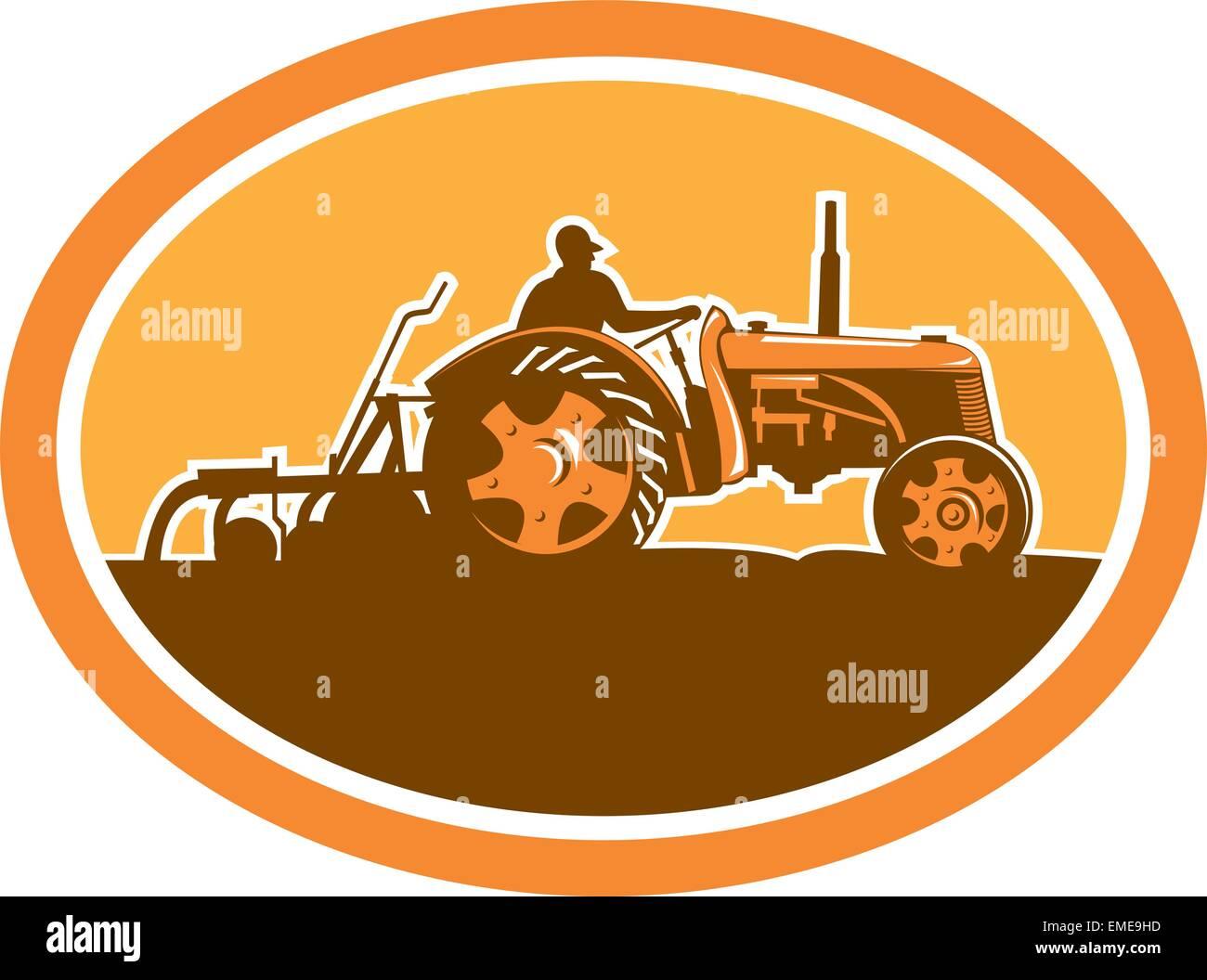 Farmer Driving Vintage Farm Tractor Oval Retro Stock Vector