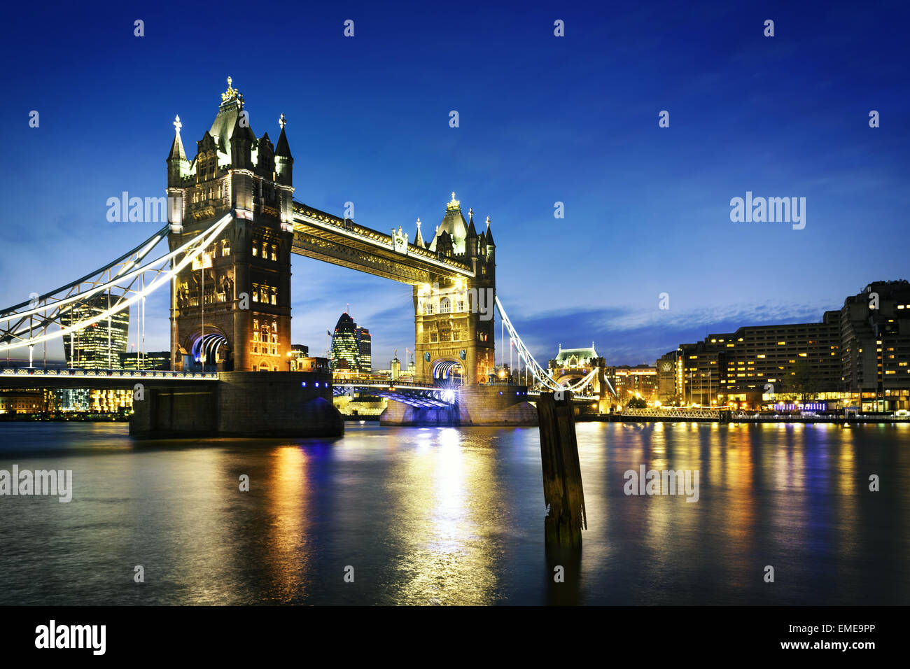Famous Tower Bridge by night London, England - Stock Image