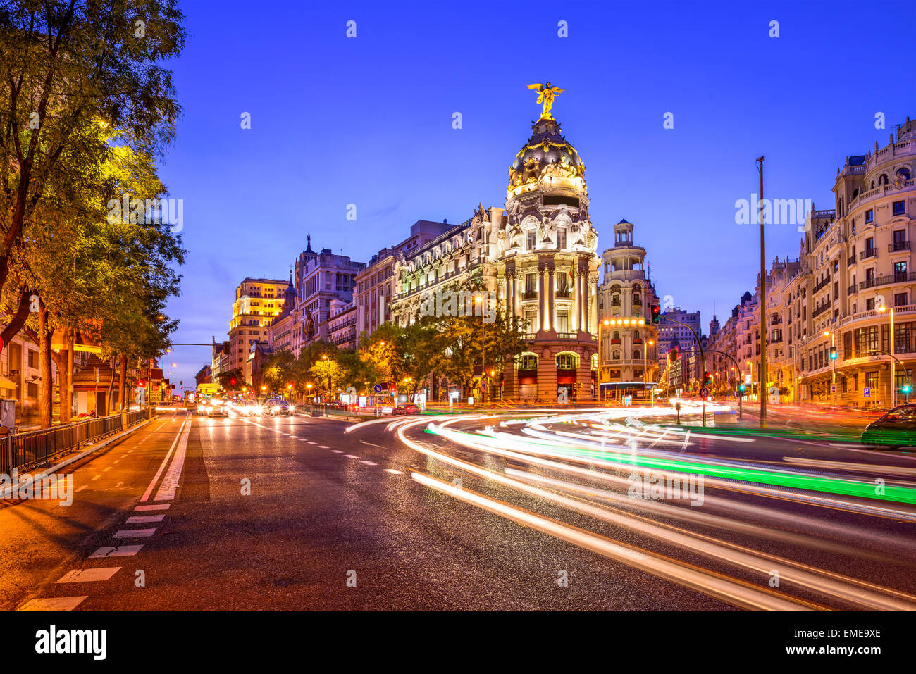 Madrid, Spain cityscape at night. Stock Photo
