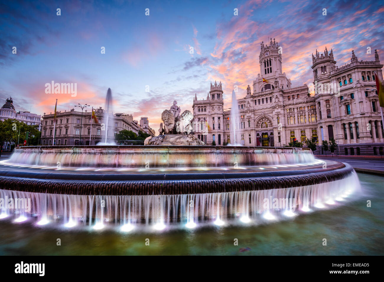 Madrid, Spain at Plaza de Cibeles. - Stock Image