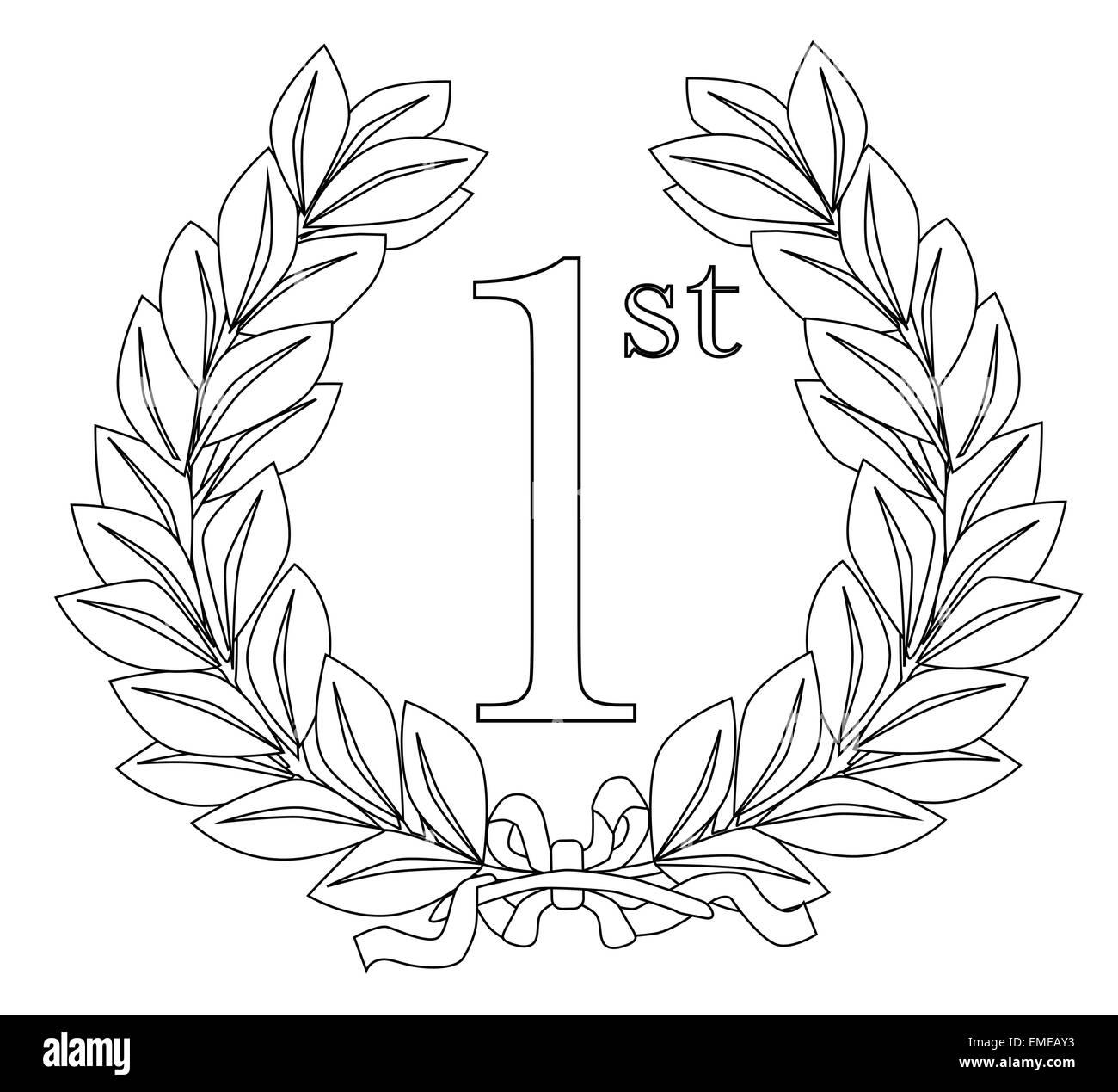 1st Laurel Wreath - Stock Image