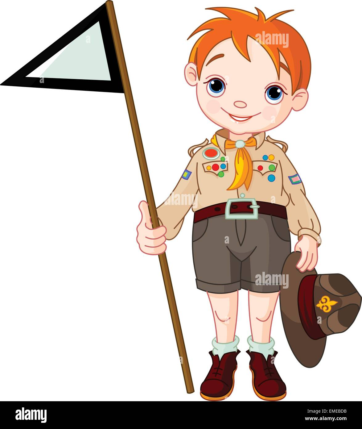 Boy Scout holding a flag - Stock Image