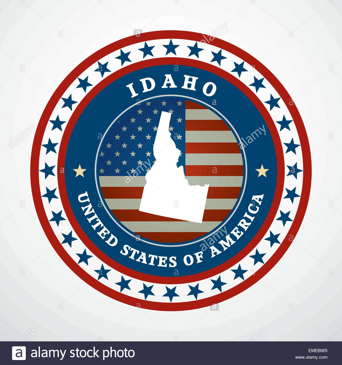 Label with map of Idaho, vector - Stock Vector
