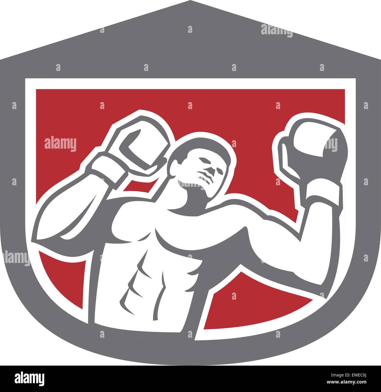 Boxer Punching Boxing Shield Retro - Stock Vector