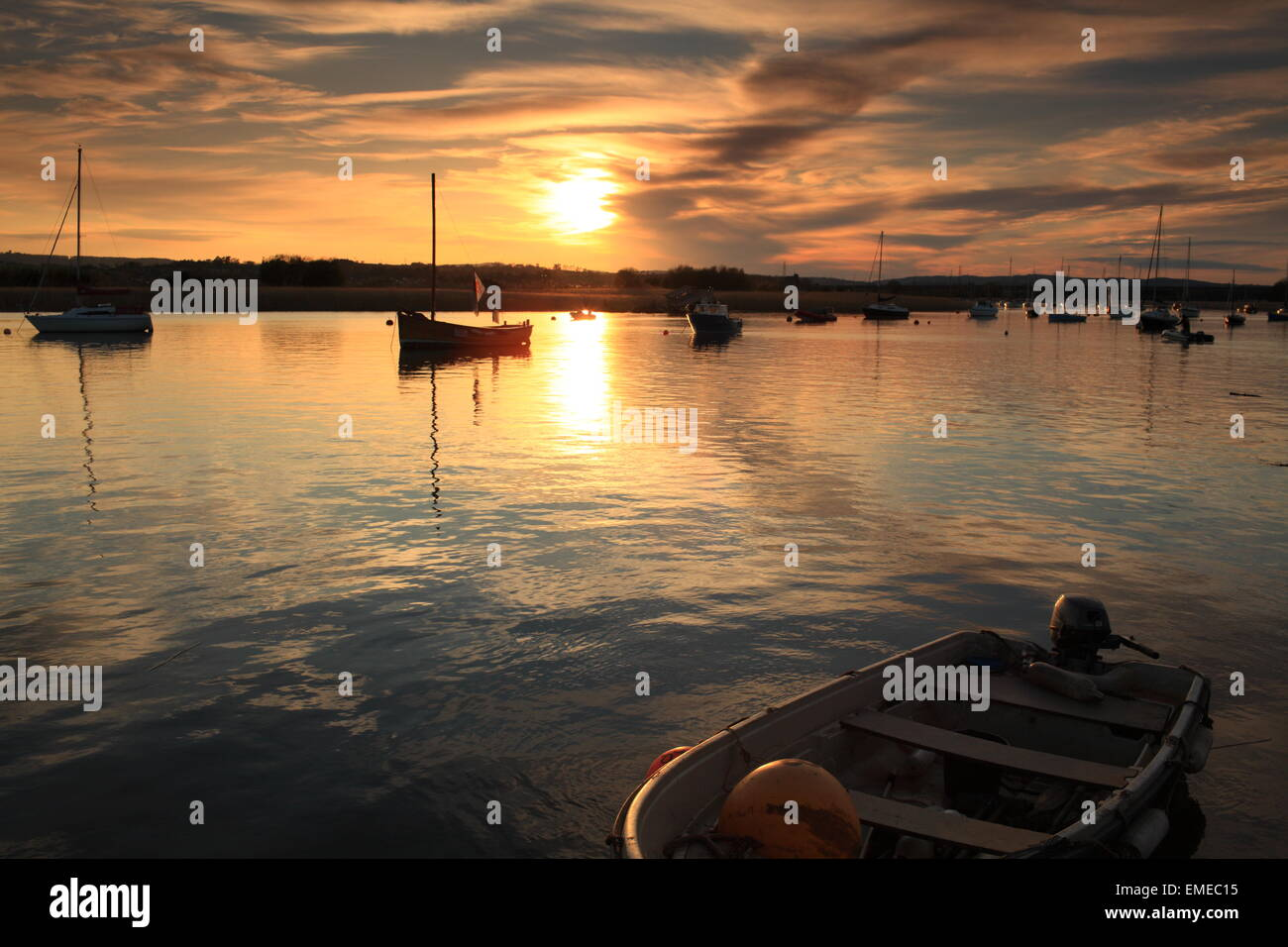 Spring sunset, view from Topsham Quay, England, UK - Stock Image