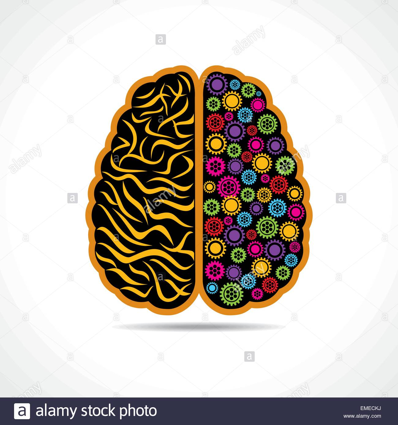 Conceptual idea  silhouette image of brain with gear - Stock Image