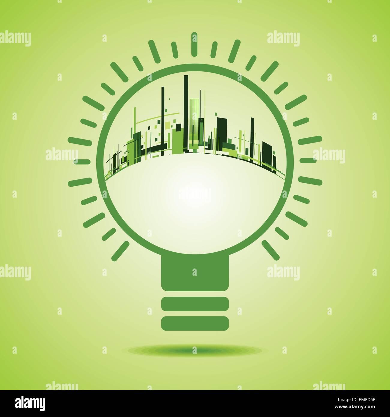 Eco City inside of a green light bulb stock vector - Stock Vector
