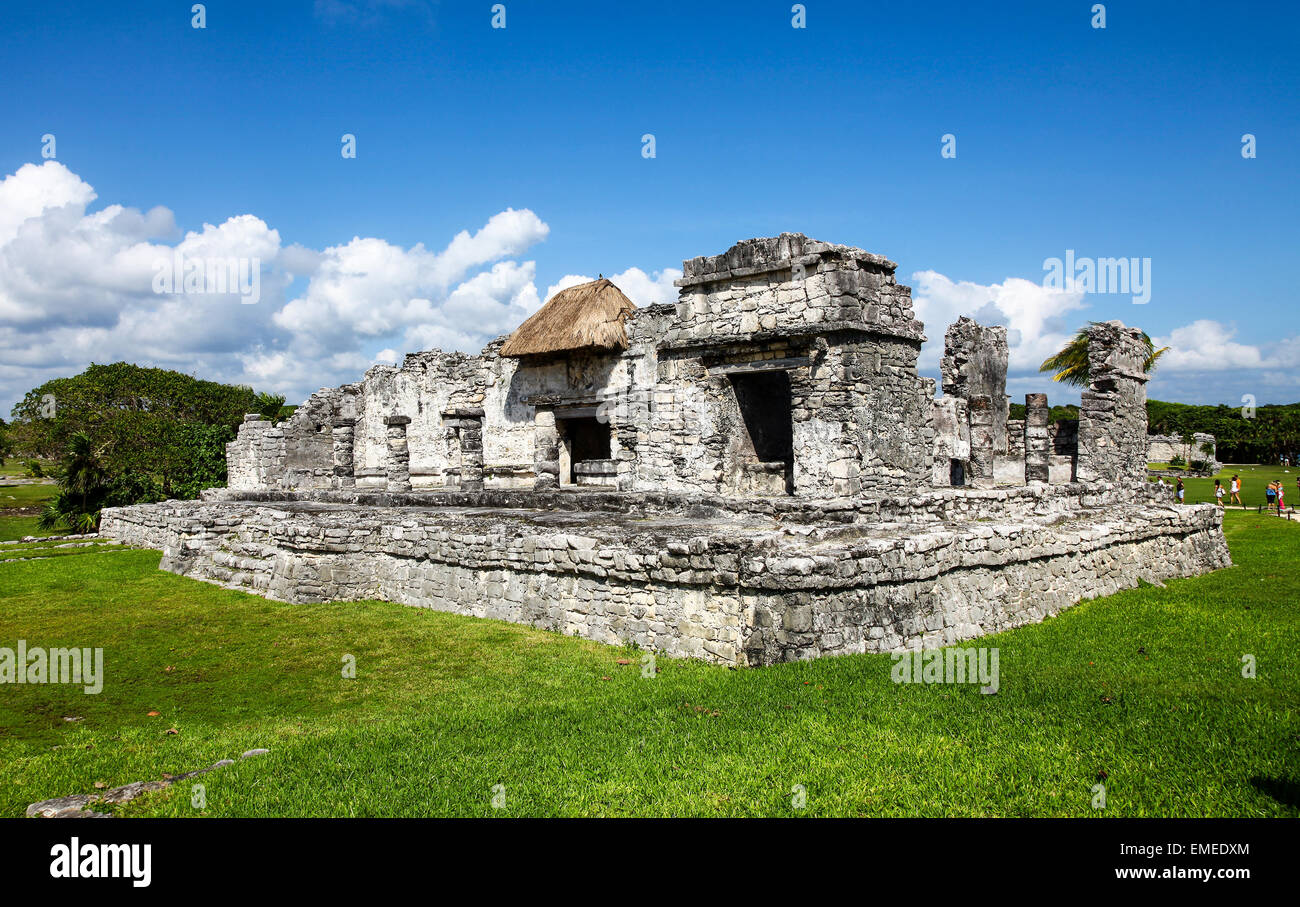 Tulum, ruins the site of a Pre-Columbian Maya Mayan civilization walled city Yucatán Peninsula, Quintana Roo, - Stock Image