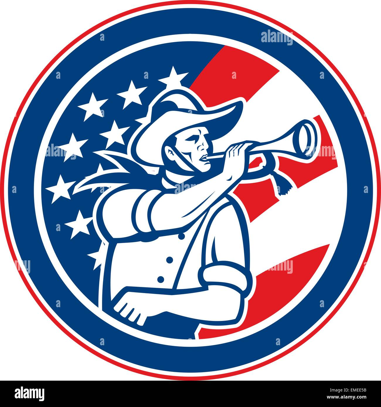 American Cavalry Soldier Blowing Bugle Circle - Stock Vector