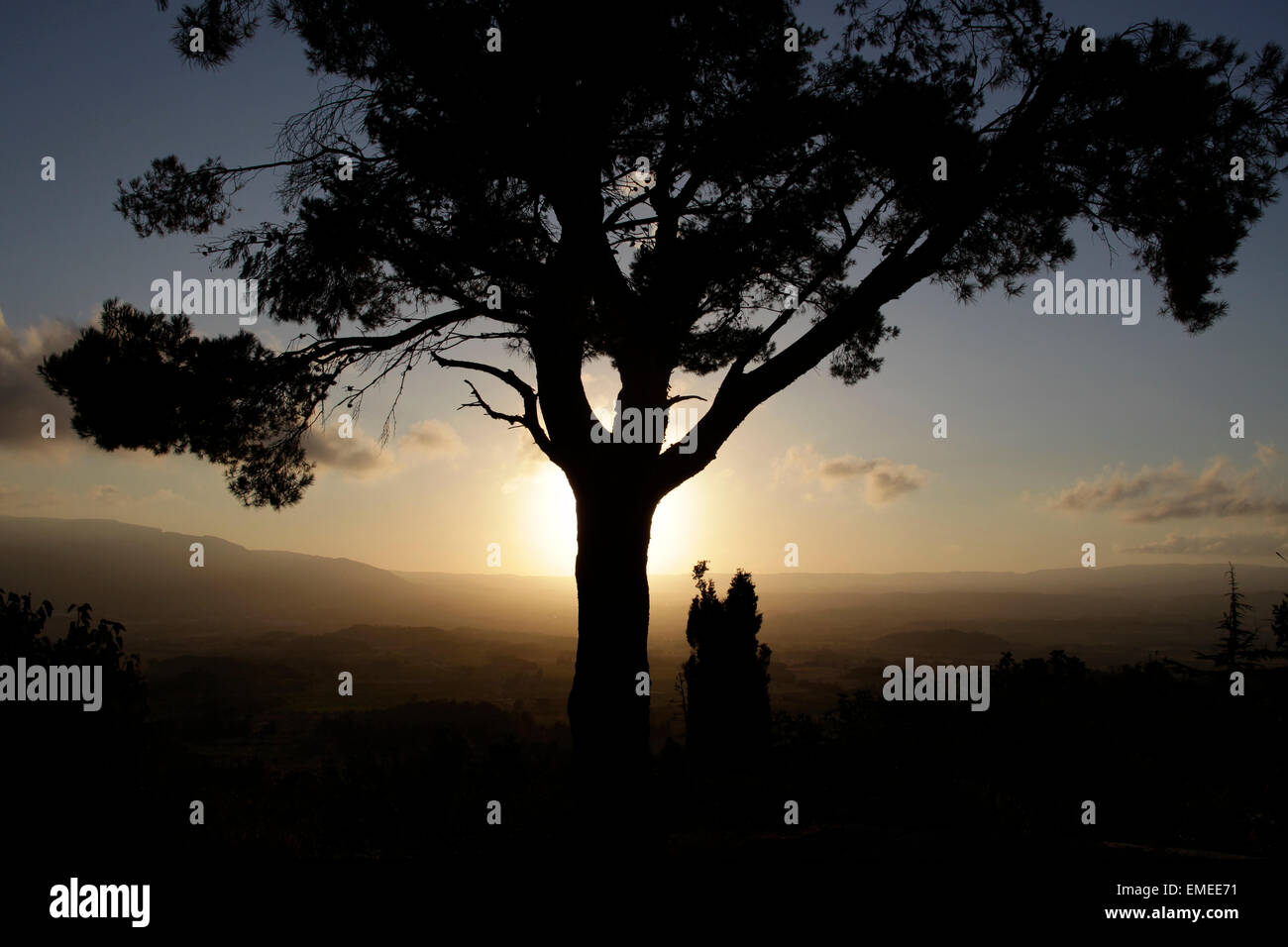 Sunset in the Conca de Barbera, Catalonia, Spain - Stock Image