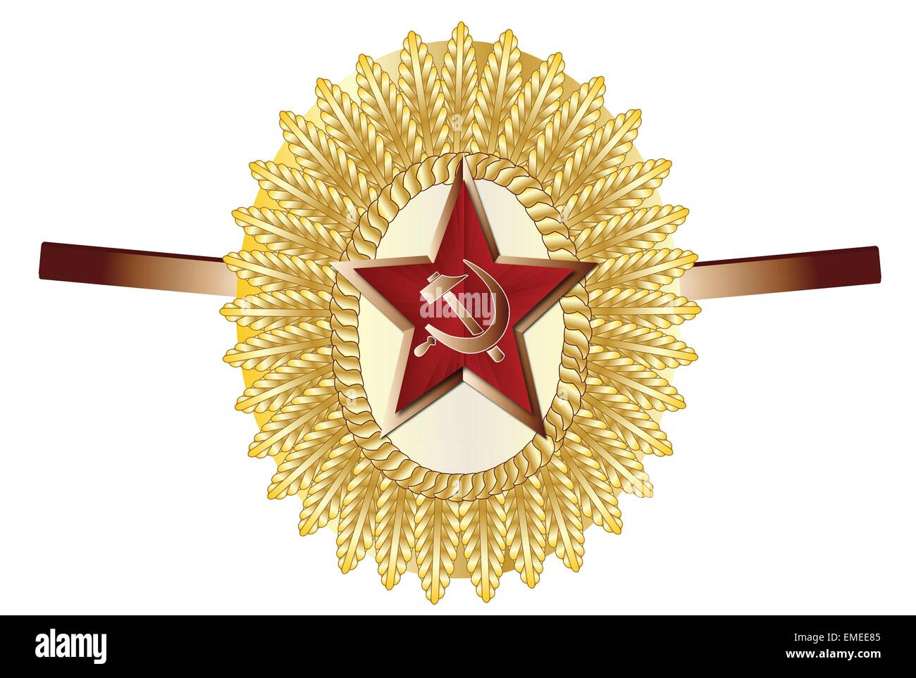 Soviet Officer Cap Badge - Stock Image