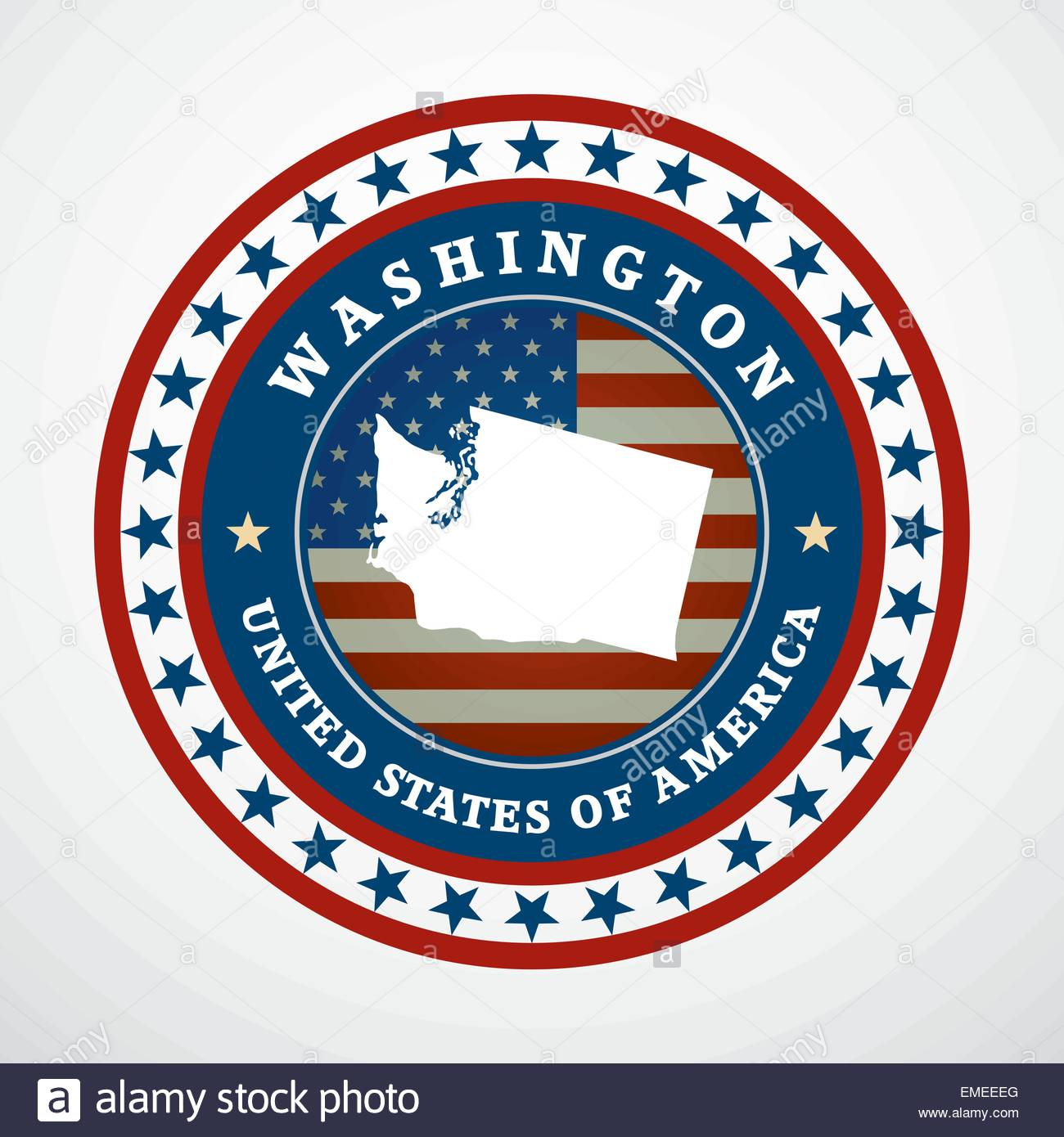 Label with map of Washington, vector - Stock Vector