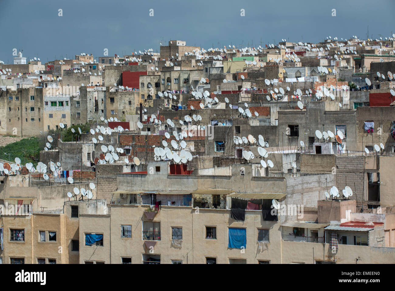 Fes, Morocco.  Sattelite dishes on rooftops of houses in medina, old section of fes. - Stock Image