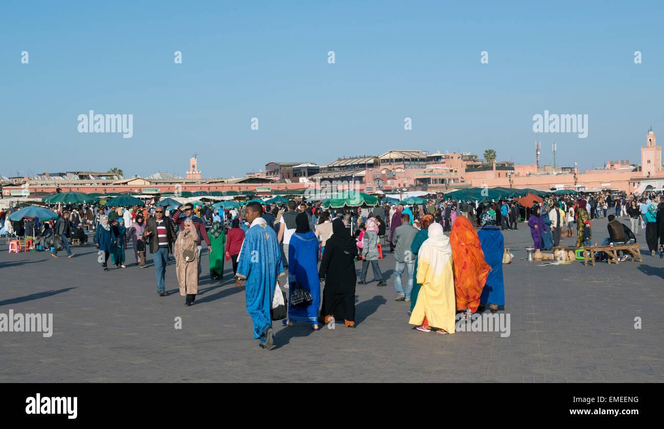 Jamaa el Fna square and marketplace in Marrakech, Morocco. Also Jemaa el-Fnaa, Djema el-Fna or Djemaa el-Fnaa - Stock Image