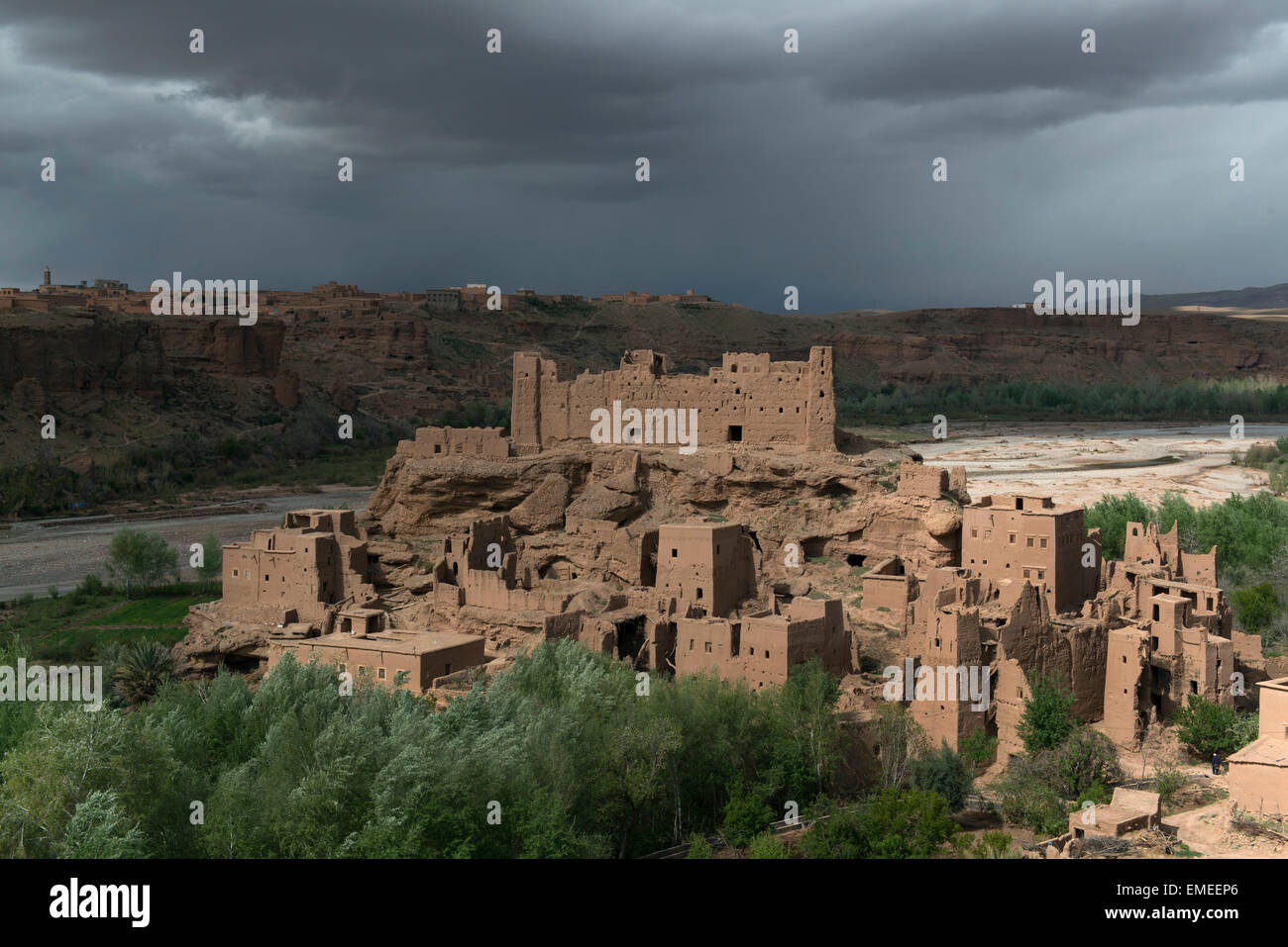 Old Kasbah, made of packed earth, in Kelaa M'Gouna, on Dades River.  High Atlas Mountains, Morocco. - Stock Image