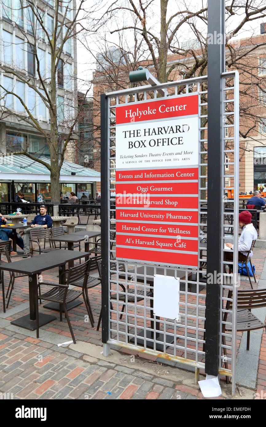 Harvard University box office sign in Cambridge city, Massachusetts, USA. - Stock Image